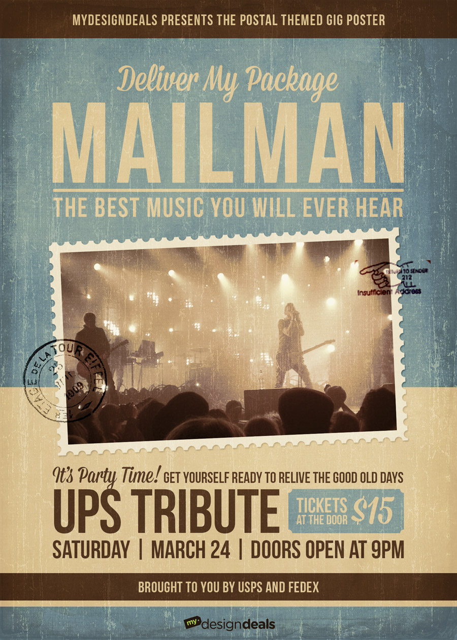 Since everything in our design is a vector shape or Smart Object you can easily go back and make adjustments without having to redo any steps. & How to Create a Postal Themed Gig Poster in Photoshop u2013 MyDesignDeals