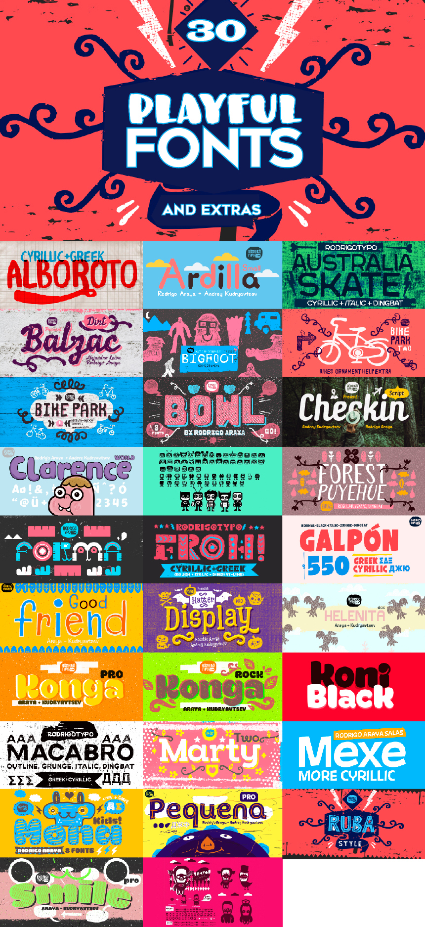30 Playful Fonts & Extras! - Only $39