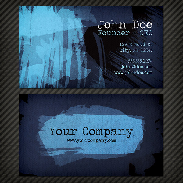 Dark Watercolor Business Card Template