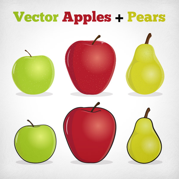 Illustrated Vector Apples and Pears