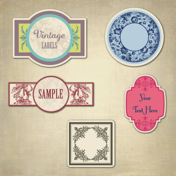 5 Vintage Vector Labels
