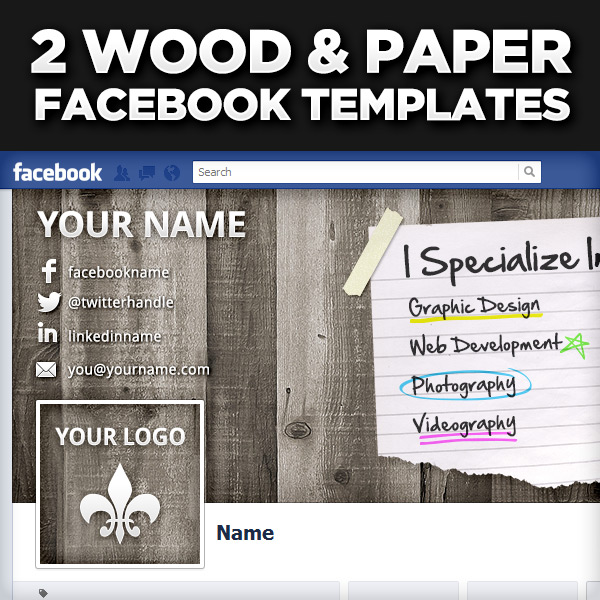 Wood and Paper Facebook Timeline Templates